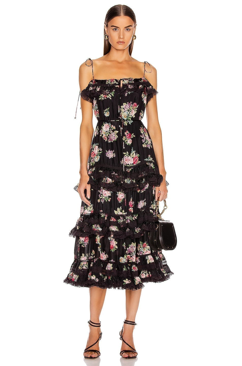 ZIMMERMANN Honour Tiered Tie Black Dress
