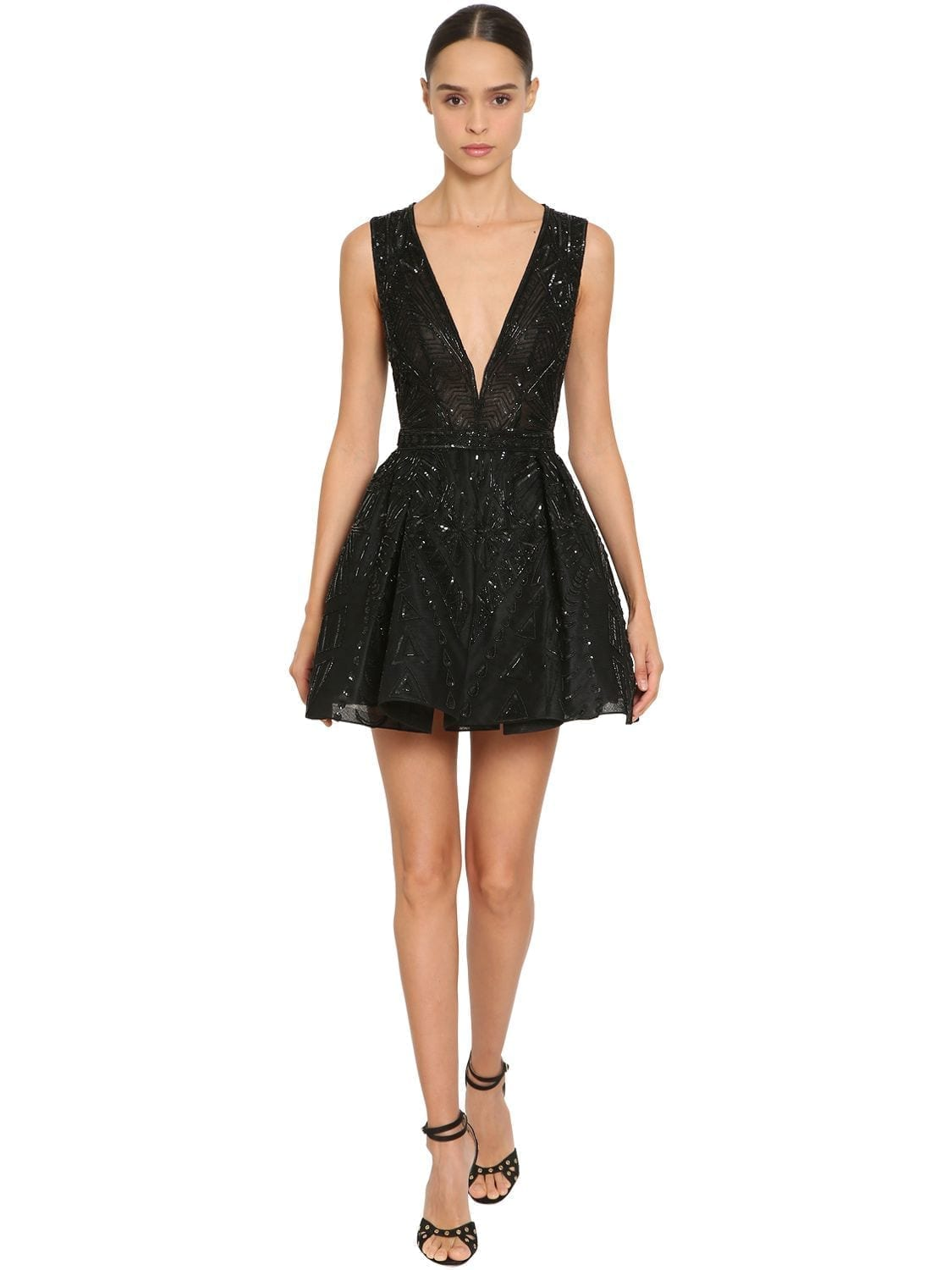 20e76f02b7e ZUHAIR MURAD Embellished Tulle Mini Black Dress - We Select Dresses