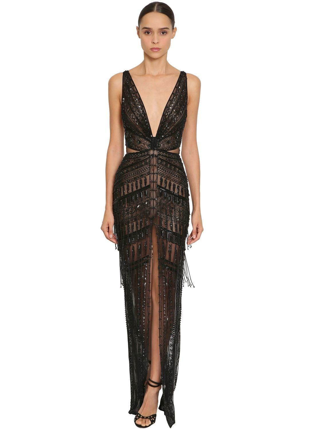 acdc22d4145 ZUHAIR MURAD Long Embellished V Neck Black Dress - We Select Dresses