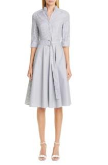 AKRIS PUNTO Stripe Poplin Midi Shirt Cream Dress