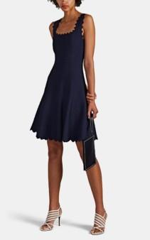 ALAÏA Wave-Pattern Compact Knit Navy Dress