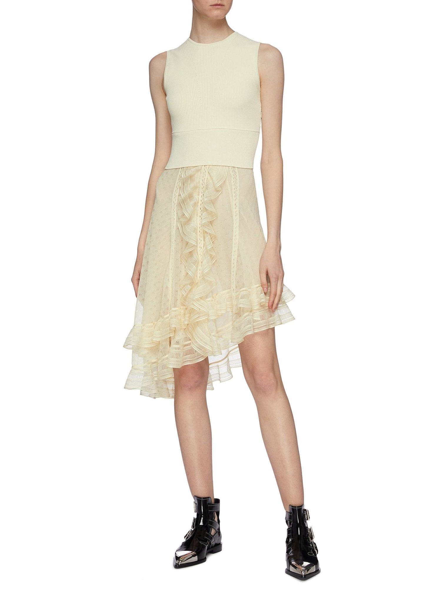ALEXANDER MCQUEEN Asymmetric Tiered Ruffle Knit Sleeveless Dress