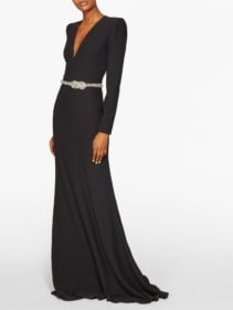 ALEXANDER MCQUEEN Crystal-Embellished Belted Gown
