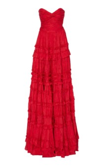 ALEXIS Allora Ruffled Linen And Silk Blend Red Gown