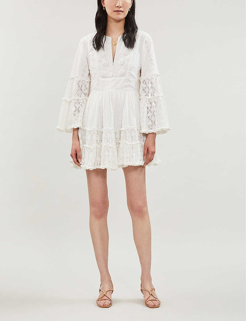ALEXIS Norwa Frilled Cotton White Dress