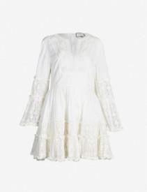 ALEXIS Norwa Frilled Cotton White Dress