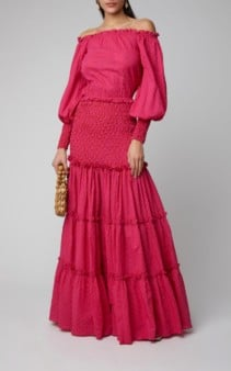 ALEXIS Thalssa Off-The-Shoulder Shirred Cotton-Voile Maxi Pink Dress
