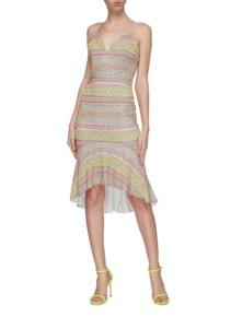 ALICE + OLIVIA 'Amina' Neon Graphic Embellished Peplum Dress