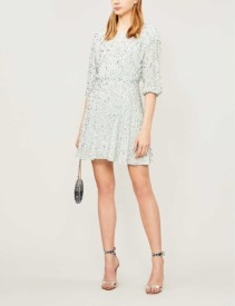 ALICE & OLIVIA Palmira Sequinned Blue Dress