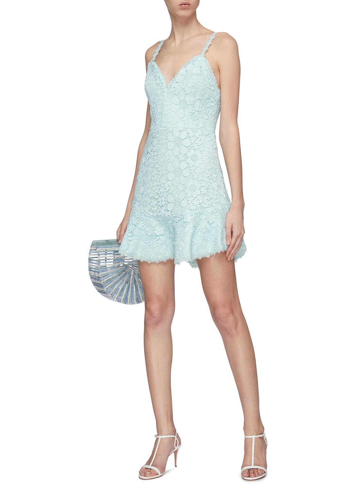 ALICE + OLIVIA 'Rapunzel' Guipure Lace Sleeveless Peplum Dress