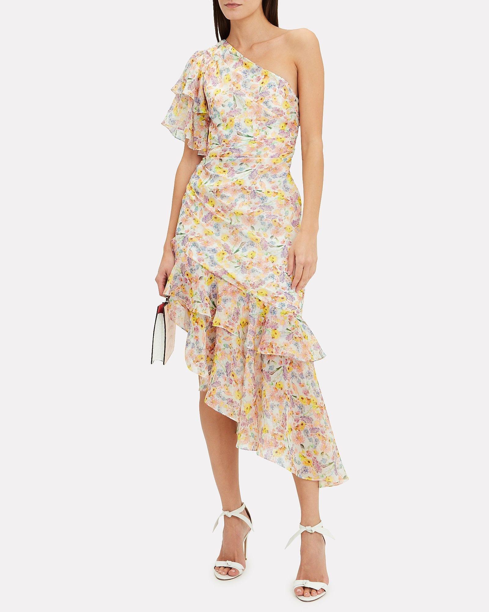 AMUR Clayton One Shoulder Floral Dress