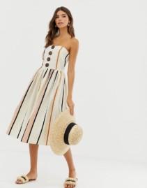 ASOS DESIGN Coconut Buttons Bandeau Midi Sun Dress