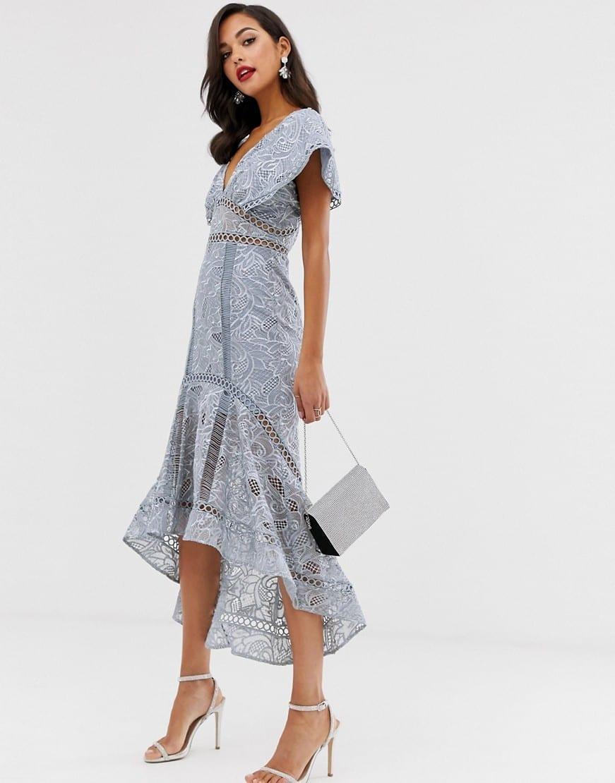 ASOS DESIGN Flutter Sleeve Midi Dress