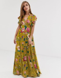 ASOS DESIGN Lace Godets Petite Maxi Yellow Dress