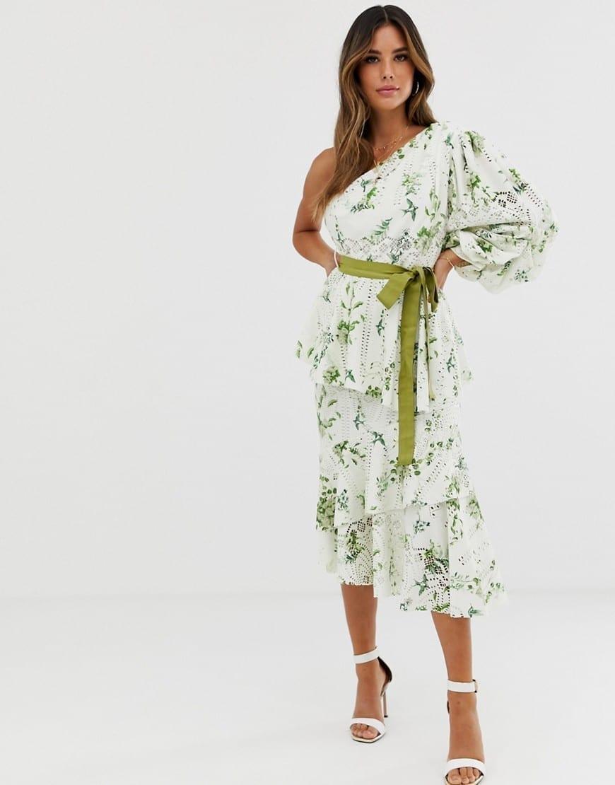ASOS DESIGN One Shoulder Belt Detail Cutwork Dress
