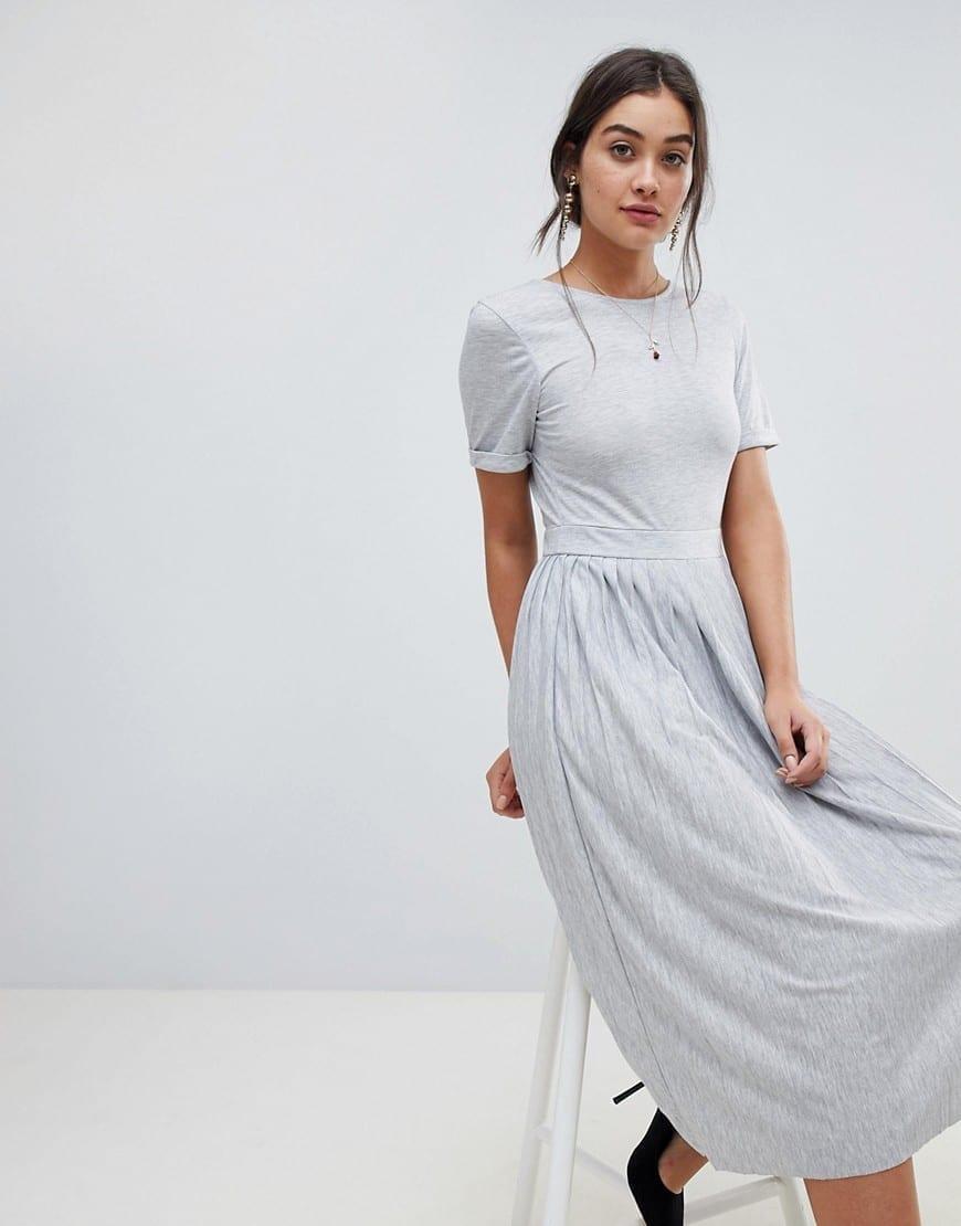 4b85cdeab5c32 ASOS DESIGN Pleated Skirt V-cut back Round Neck Midi Dress - We ...