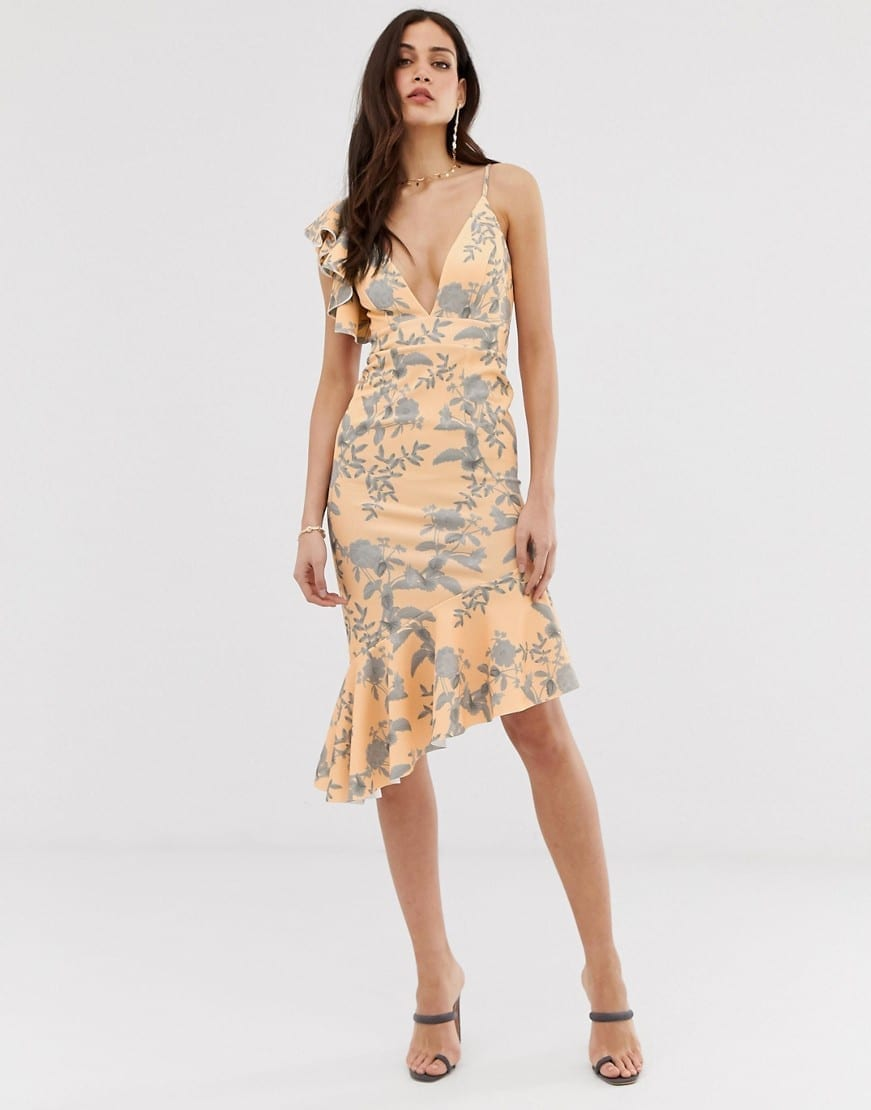 ASOS DESIGN Shadow Floral Ruffle Hem Midi Dress