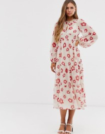 ASOS DESIGN Tiered Long Sleeve Smock Maxi White Dress
