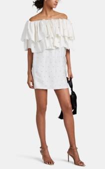 AZEEZA Aurora Silk Ruffle Off-The-Shoulder Ivory Dress