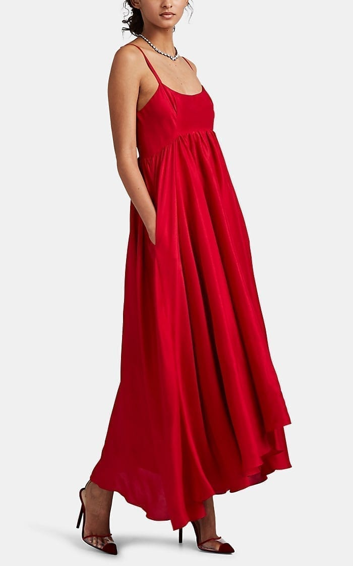 AZEEZA Rachel Raw Silk Midi Red Dress