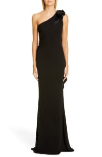 BADGLEY MISCHKA COLLECTION Badgley Mischka One-Shoulder Trumpet Black Gown