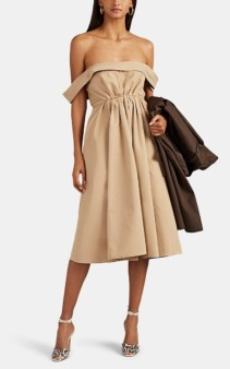 BROCK COLLECTION Cotton Faille A-Line Belted Beige Dress