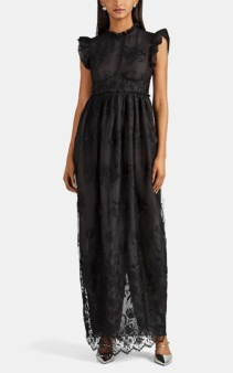 BROCK COLLECTION Floral-Embroidered Tulle Bustier Cocktail Black Dress