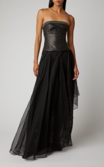 BRUNELLO CUCINELLI Leather And Tulle Gown