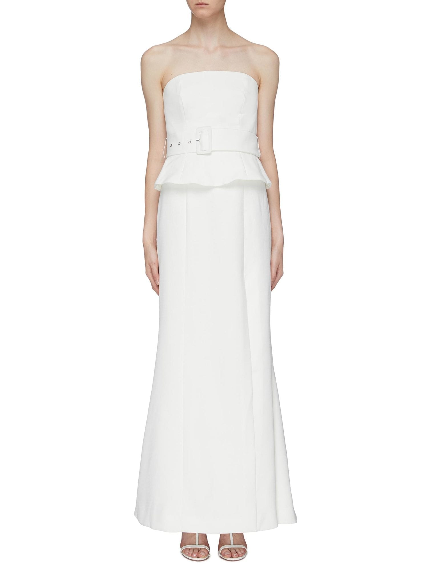 C MEO COLLECTIVE 'mode' Belted Peplum Strapless Gown