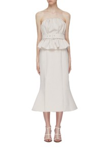C MEO COLLECTIVE 'mode' Belted Ruched Peplum Dress