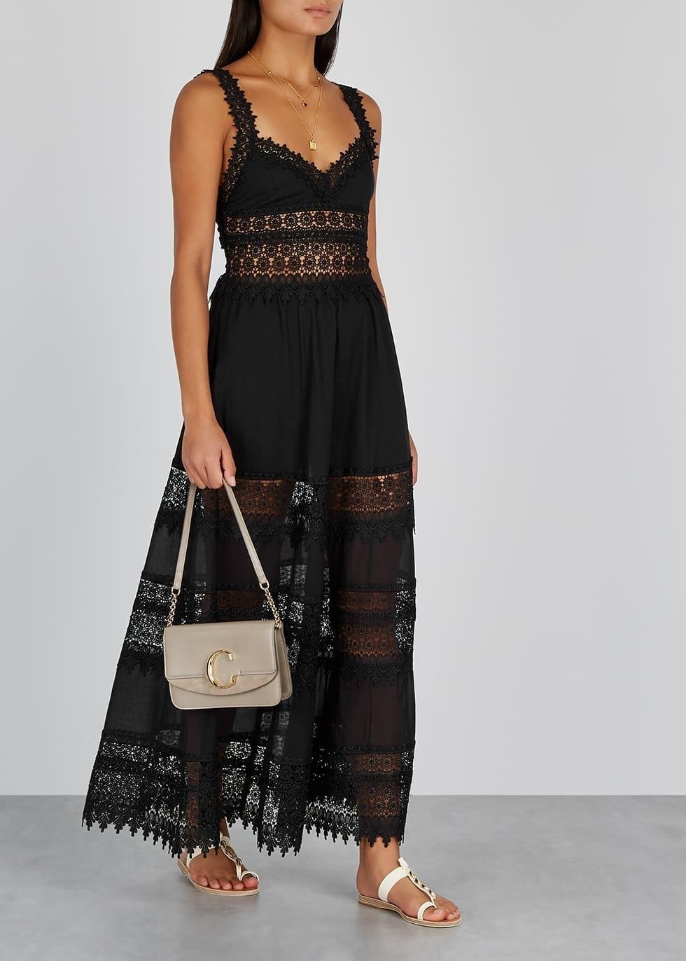 CHARO RUIZ Sophia Black Cotton-blend Maxi Dress