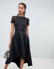 CHI CHI LONDON Lace Sleeves High Low Hem Midi Dress