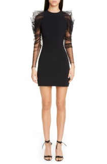 CUSHNIE Tulle Long Sleeve Mini Black Dress