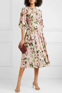 DOLCE & GABBANA Belted Silk-georgette Midi Blush Dress