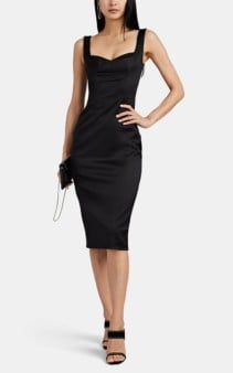 DOLCE & GABBANA Bra-Inset Fitted Satin Black Dress