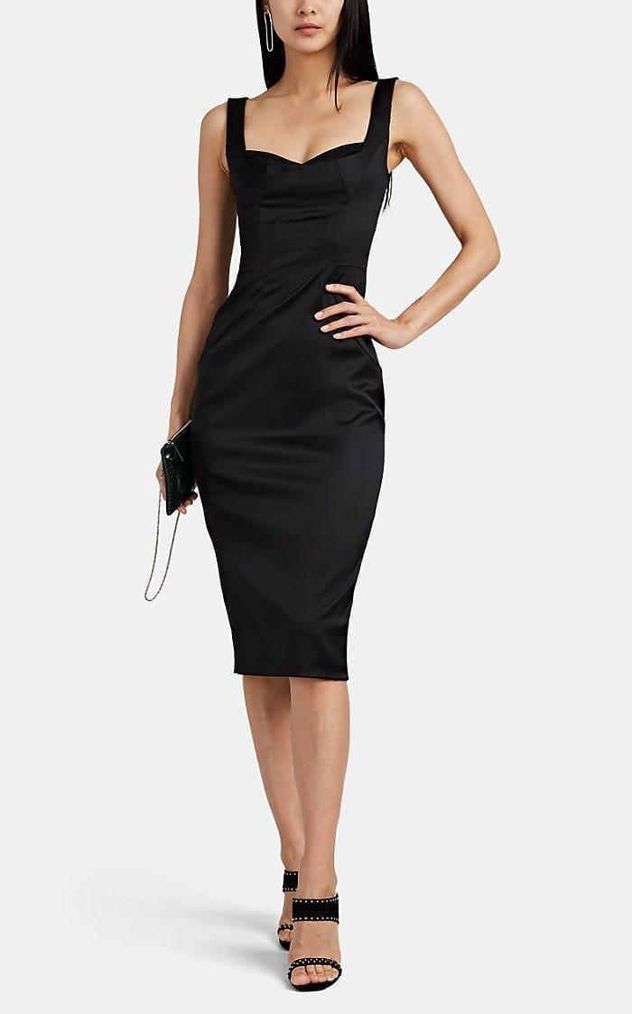 DOLCE & GABBANA Bra-Inset Fitted Satin Black Dress