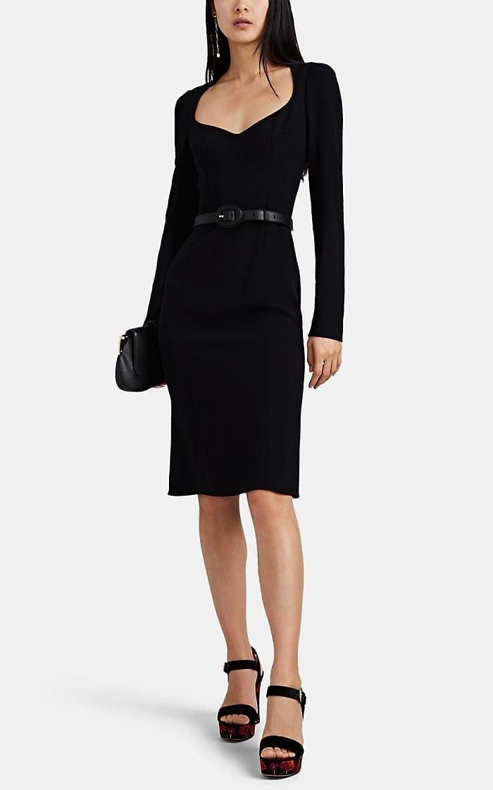 DOLCE & GABBANA Cady Fitted Midi Black Dress