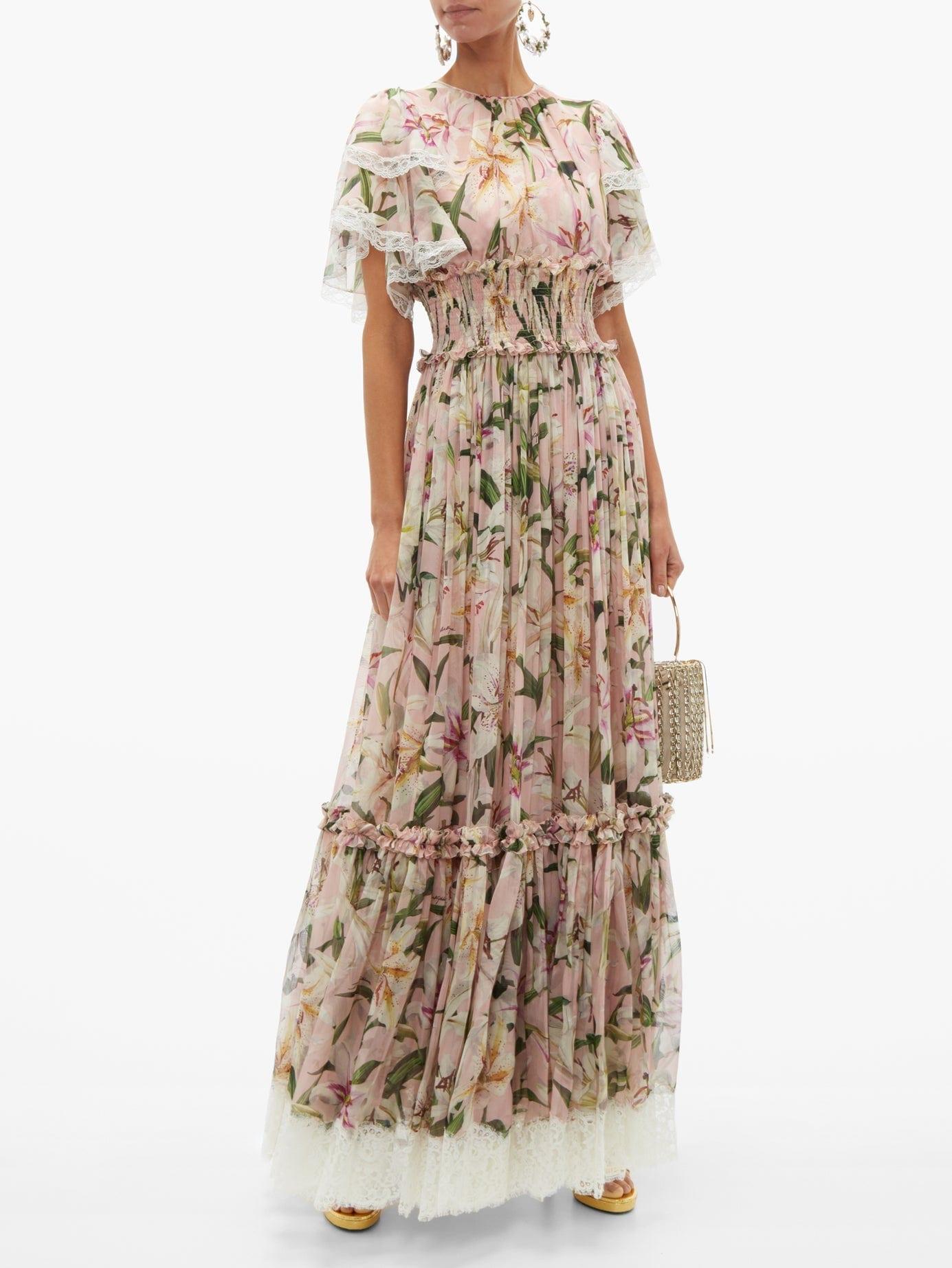 DOLCE & GABBANA Shirred Lilium-Print Silk-Blend Chiffon Gown