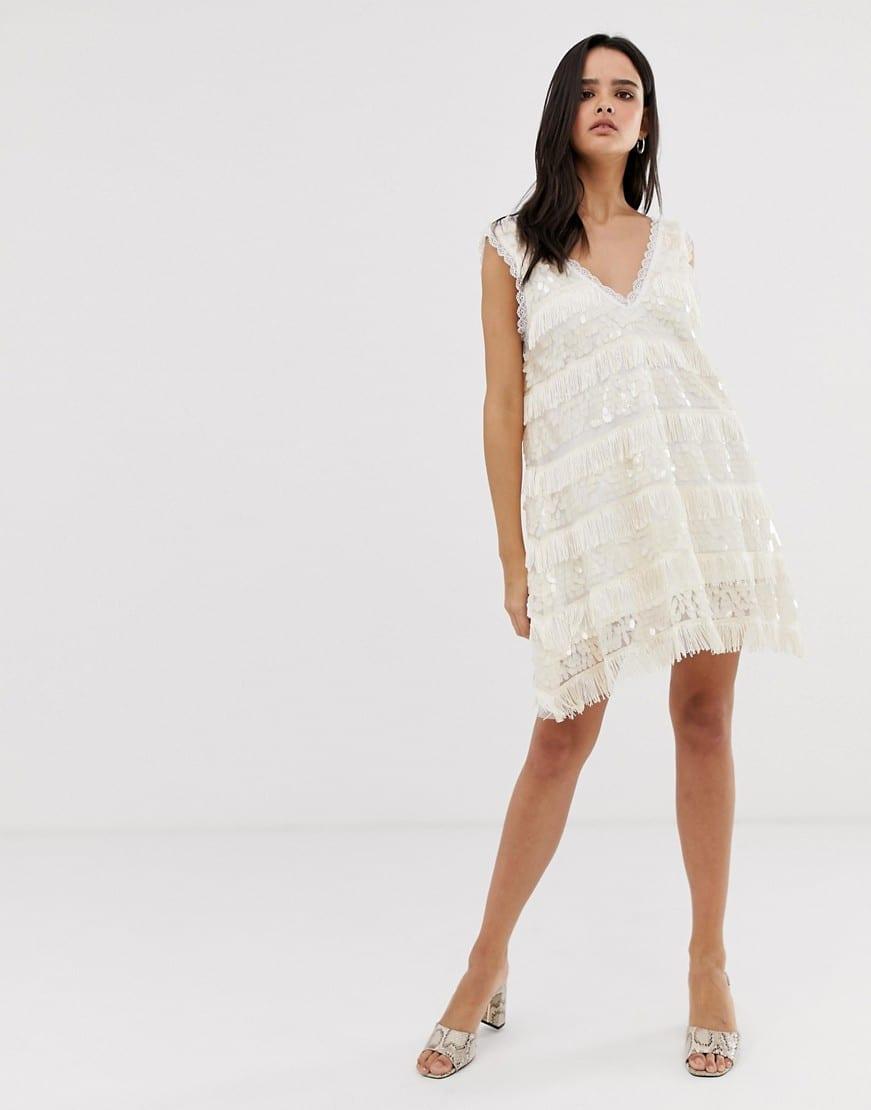DUSTY DAZE Oversized Tassles Sequin Swing Cream Dress