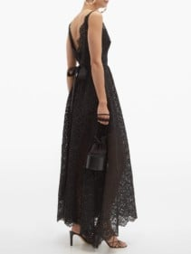 ELIE SAAB Broderie Anglaise Cotton-Blend Black Gown