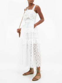 ELIE SAAB Broderie-Anglaise Cotton-Blend Midi Dress