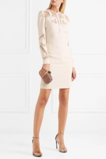 ELIE SAAB Lace-Paneled Crepe Ivory Dress