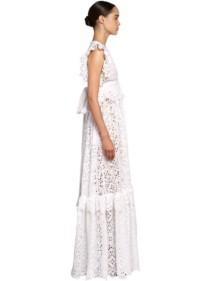 ELIE SAAB Lace & Poplin Ruffles Long Dress