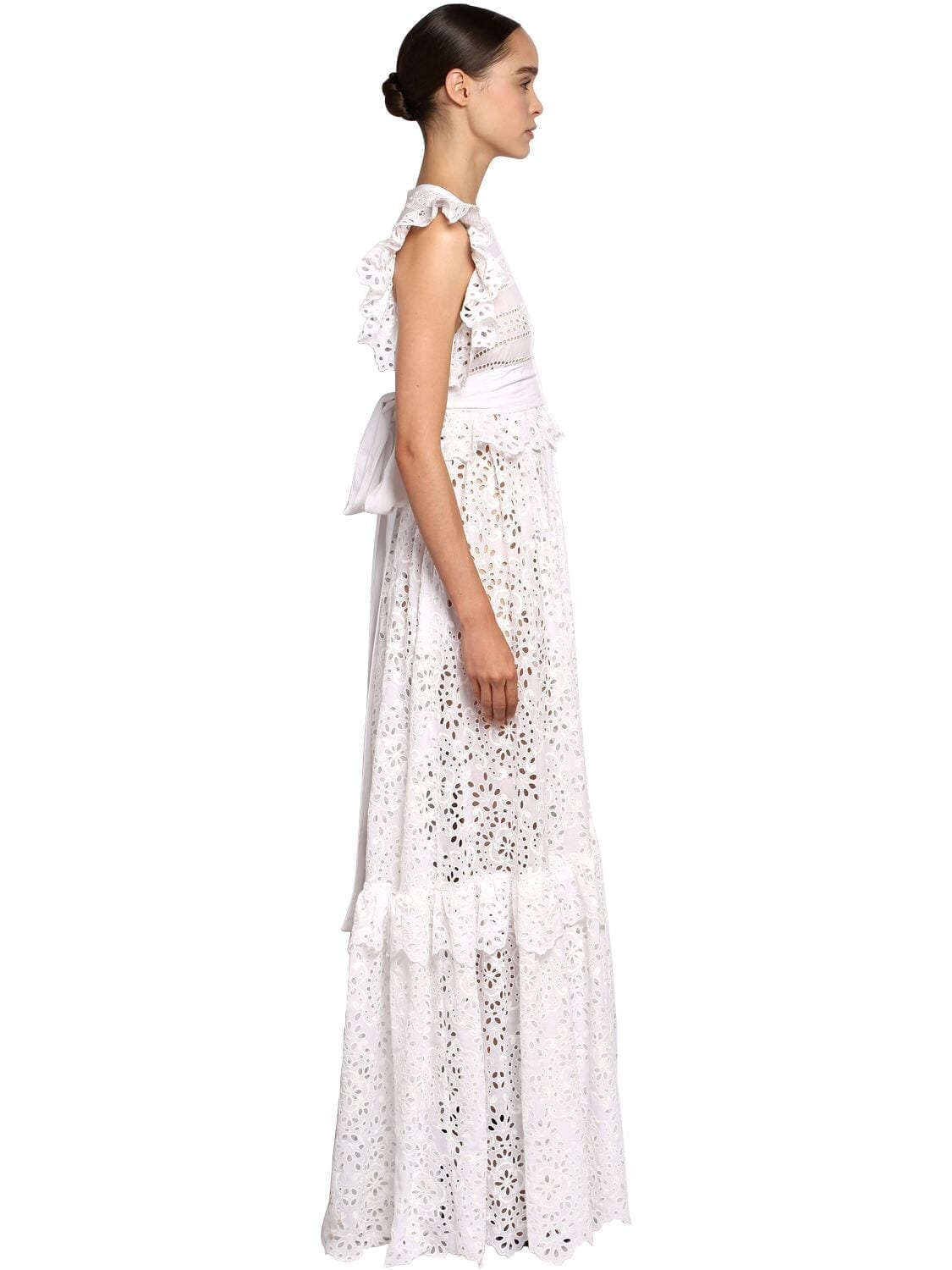 ELIE SAAB Lace & Poplin Ruffles Long Dress
