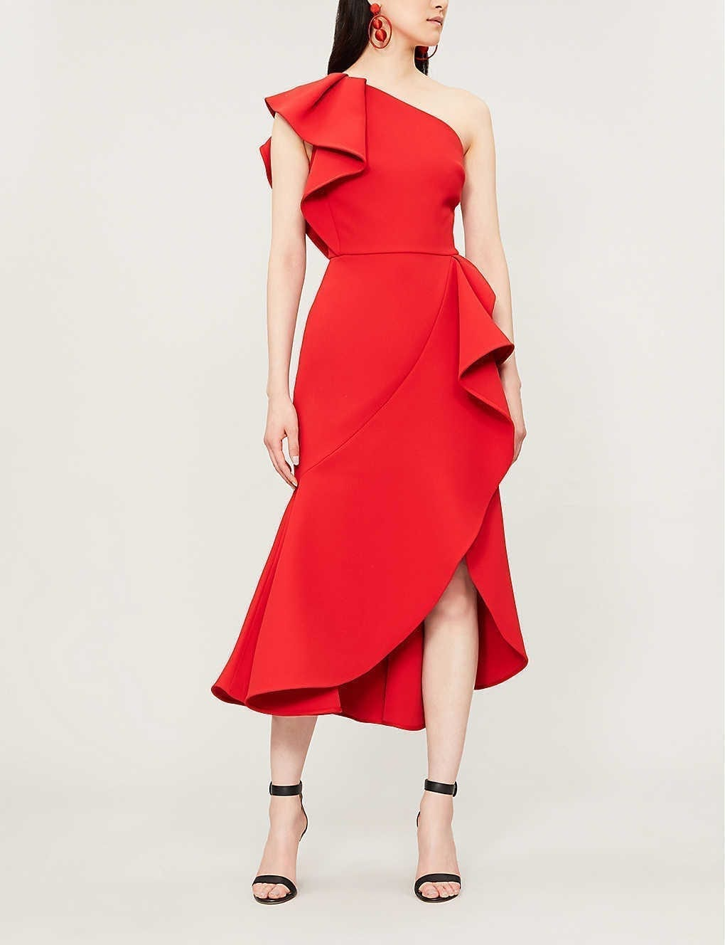ELIE SAAB Ruffled Asymmetric Woven Midi Red Dress