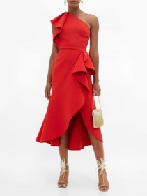 ELIE SAAB Ruffled One-shoulder Crepe Dress