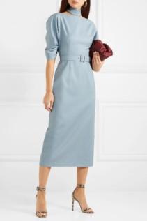 EMILIA WICKSTEAD The Wool Mark Company Belted Wool-crepe Midi Blue Dress