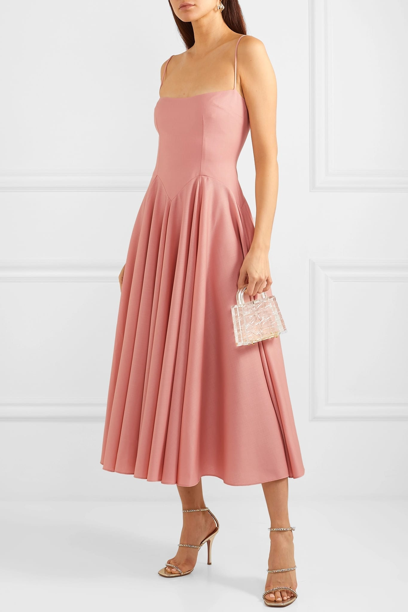 EMILIA WICKSTEAD The Woolmark Company Nico Merino Wool Midi Pink Dress