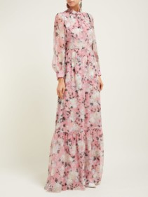 ERDEM Clementine Silk-Voile Pink Gown