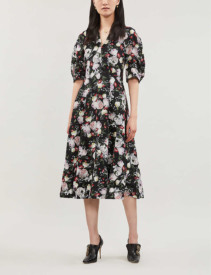 ERDEM Cressida Silk Black Dress